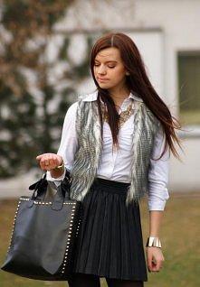 Leather skirt & fur vest