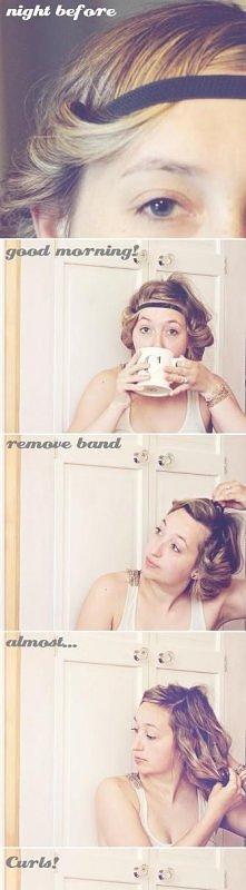 zawijanie włosów na opaske sposobem na loki:)