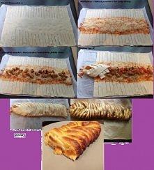 Baroński zawijaniec :) Pomysł zapożyczony z zszywki. Proste i szybkie. Ciasto francuskie, trochę sosu/ ketchupu, ser żółty, pomidory, ogórki, kawałki filetu z kurczaka podsmażon...