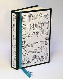Notes na przepisy - oryginalny prezent. Notes kieszonkowy ozdobiony turkusową wstążką. Rysunek autorski. Notes jest szyty w twardej oprawie zawiera 110 kremowych kartek , format...