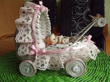 wózek z papierowej wikliny ...