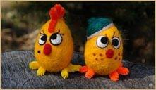 Kurczaki filcowe na Wielkanoc