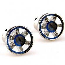 Wheel Design- Round Blue Crystal Cufflinks 163464
