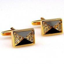 Rectangular Black and Gold Crystal Cufflinks 163524