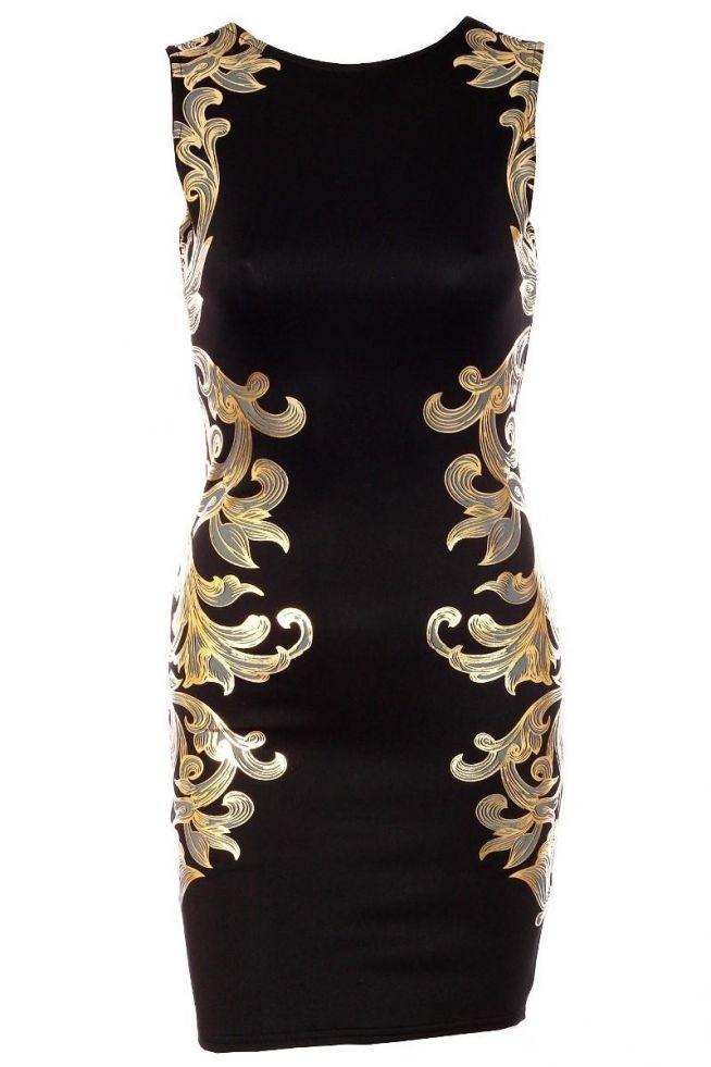 3480e071cc6e31 Sukienka Goddess czarna złoty barokowy wzór na LADY DRESS - Zszywka.pl