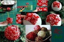 bombki z materiału:) można użyć żywych kolorów i wykonać Wielkanocne jajka materiałowe