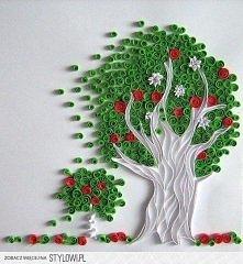 drzewo quillingowe zielone