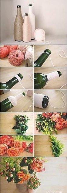 wazoniki z butelek i sznurka:)