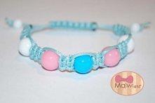 pastelowa bransoletka róż, błękit oraz biel bransoletka i kryształki -> MA...