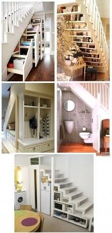 zarządzanie przestrzenią, schowki pod schodami:)