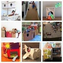 wiele pomysłów na wykorzystanie kartonowych pudeł do konstrukcji zabawek