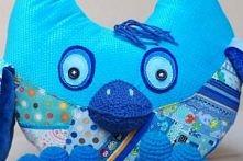 patchworkowa sowa - niebiesko turkusowa