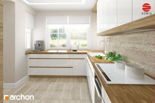 Biała kuchnia z drewnianym blatem. Rzut 2
