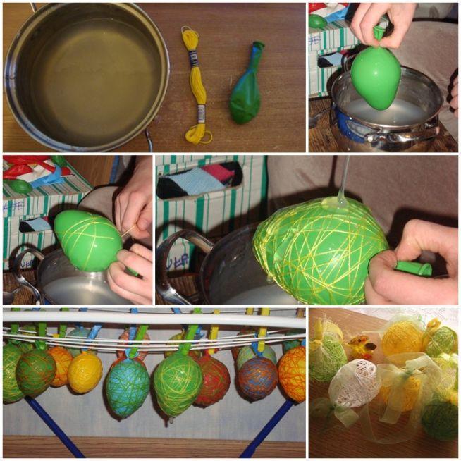 Jajka z nici :)  Krochmal, Mulina (obojętnie jakie kolory), Balon :)