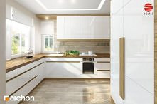 Biała kuchnia z drewnianym blatem. Rzut 1
