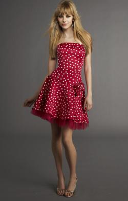 1ef4d435 czerwona sukienka w białe groszki na Dresses - Zszywka.pl