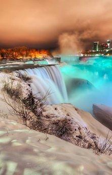 Frozen Niagara Falls at Night, Canada
