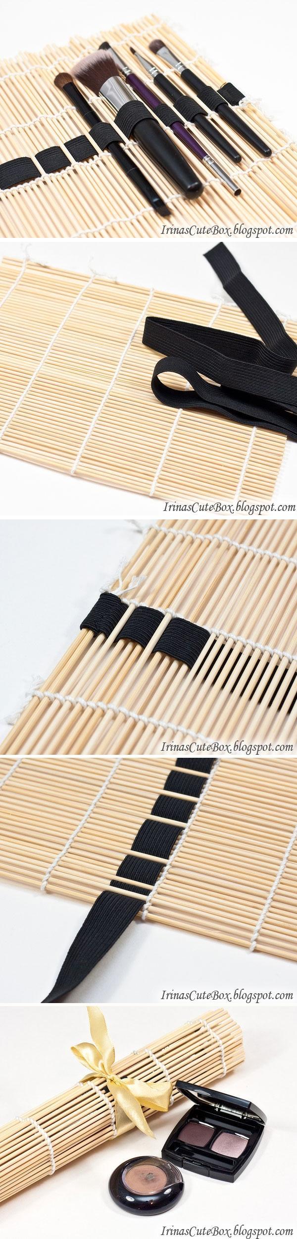 diy, diy projects, diy craft, handmade, diy sushi mat brush organizer