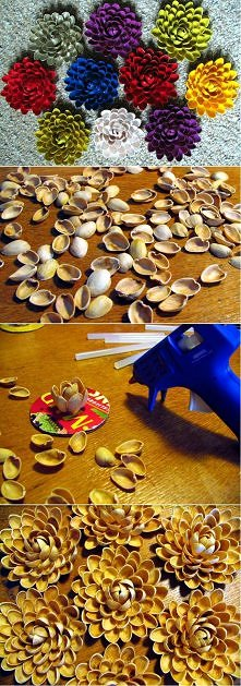 diy, diy projects, diy craft, handmade, diy pistachios shell flower