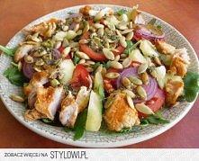 Fit sałatka z kurczakiem, rukolą i pestkami dyni Składniki (na 4 porcje):  Ru...