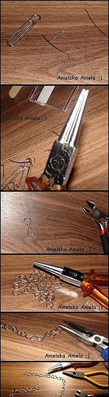 Jak zrobić łańcuszek do naszyjnika ze spinaczy ? :)