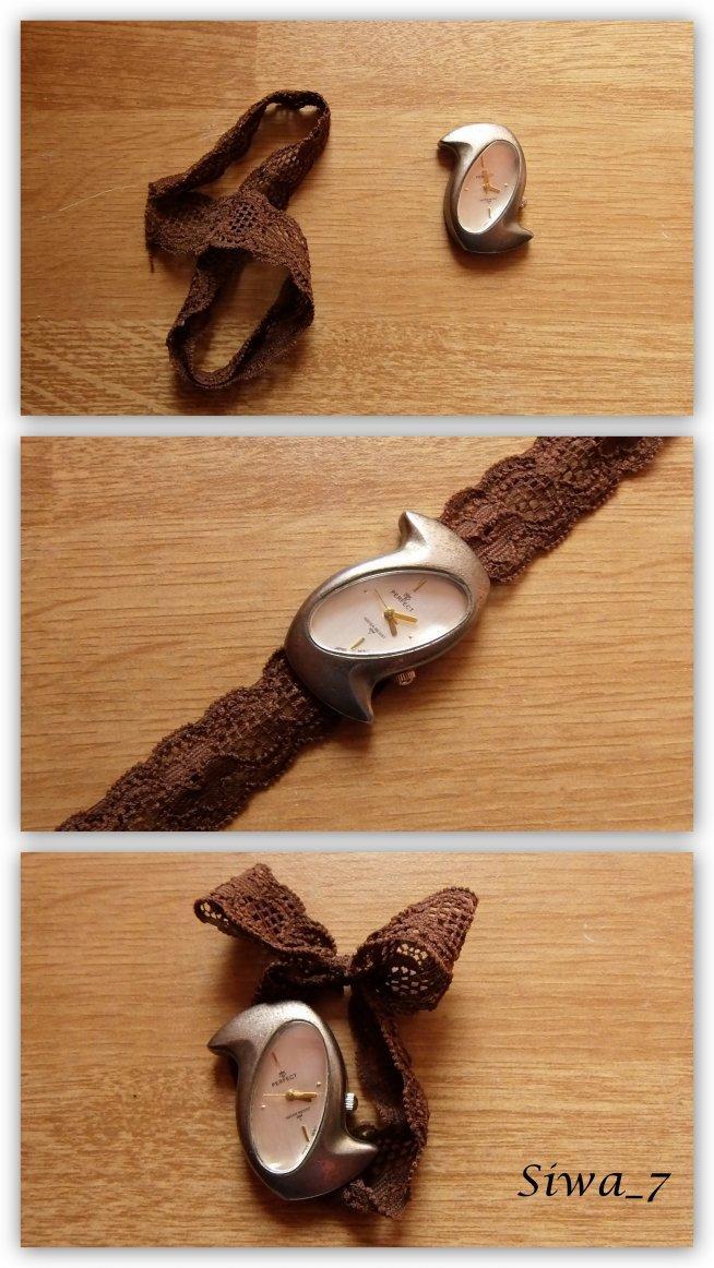 miałam zegarek bez paska i nie wiedziałam kompletnie co z nim zrobić jednak wpadłam na taki pomysł :) myślę że się podoba ^^
