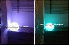Kula Terra z żarówką RGB zmieniającą kolory za pomocą dołączonego w zestawie bezprzewodowego pilota. Dostępne są różne rozmiary kul. Więcej na LEDco.pl