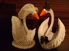 Łabędzie - origami modułowe