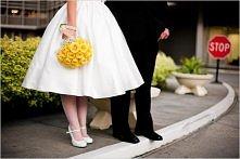 Żółty bukiet ślubny.