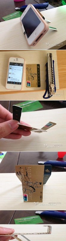 diy, diy projects, diy craft, handmade, diy ideas, diy credit card iphone stand