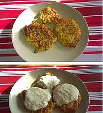 PLACUSZKI Z CUKINII  przepis - Ewa Chodakowska Składniki: połowa cukinii (200 g) 2 czubate łyżki mąki  1 jajko pół średniej cebuli oregano bazylia (w przepisie w książce są świeże zioła, ja użyłam z woreczka) pieprz ziołowy szczypta soli  Cukinię obrać i zetrzeć na grubej tarce, jajko ubić, dodać mąkę, wymieszać z cukinią i posiekaną cebulą, przyprawić. Smażyć na oliwie.  Sos jogurtowy zetrzeć 100g ogórka, wymieszać z 100g jogurtu greckiego, dodać pół ząbka czosnku, doprawić solą, pieprzem oraz łyżeczką soku z cytryny