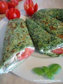 Szpinakowe naleśniki z serem i pomidorem  Składniki:  Szpinakowe naleśniki: 1...