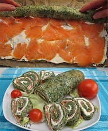 Rolada łososiowo-szpinakowa  Bardzo prosty przepis na pyszną przystawkę np. n...