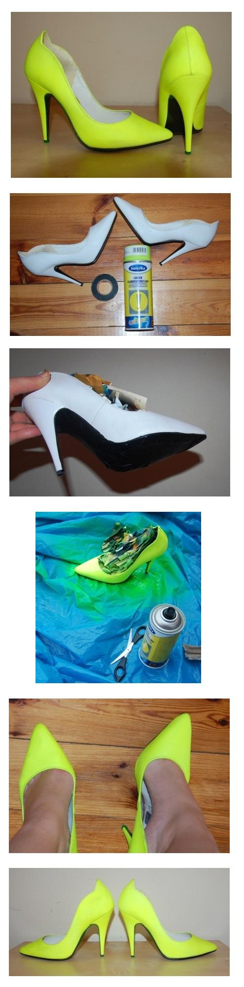 NEON SHOES Buty kupione w SH za 1zł (nowe!!), pomalowane fluorescencyjnym żółtym sprayem. Efekt murowany!!