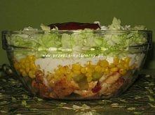 Sałatka Gyros. 1 pierś z kurczka, kapusta pekińska, puszka kukurydzy, ogórki konserwowe, cebula, majonez, przyprawa do gyrosa,  jogurt naturalny,  ketchup, sos sałatkowy koperko...
