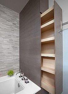 fajny pomysł na zabudowane półki w łazience