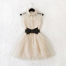 świetna skromna sukienka plus słodka kokardka i modny kołnierzyk <3