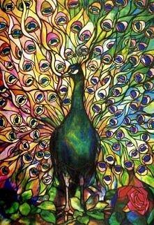 Fine Peacock Leaded-glass W...