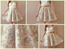 ★ Rozkloszowna spódnica floral bralet gorset biały ★ wejdź i zobacz więcej