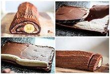 rolada czokoladowa z bananem