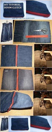 DIY tutorial jak uszyć dżinsową kopertówkę ze starej spódnicy