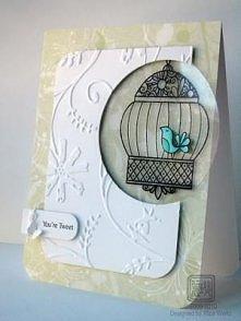 Walentynki kartka ptaszek w klatce