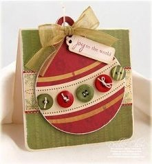 Kartka świąteczna bombka guziki