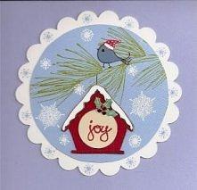 Kartka świąteczna ptaszek z domkiem