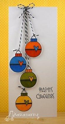 Kartka świąteczna bombki