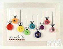 Kartka świąteczna kolorowe bombki guziki