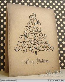Kartka świąteczna retro choinka elegancka brązowa
