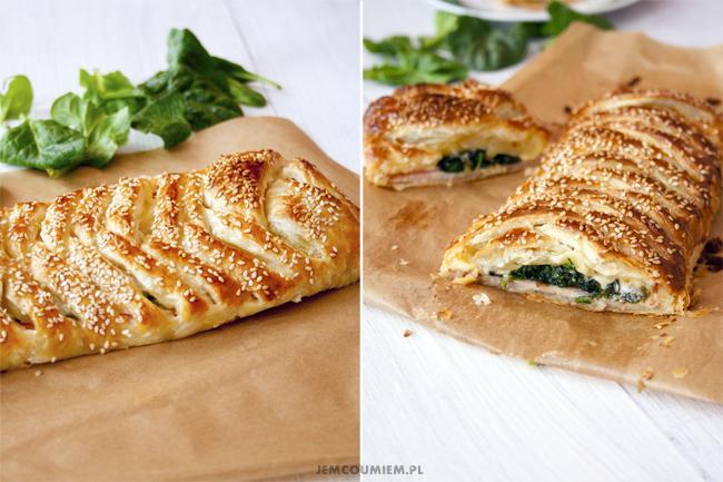 Ciasto francuskie– z szynką, serem i szpinakiem
