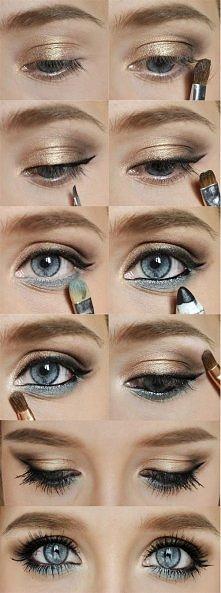 niebiesko-złoty makijaż