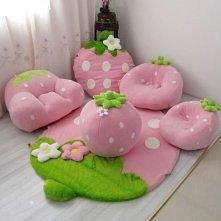 pufy w kształcie truskawkowym